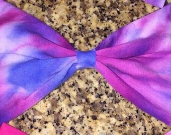 Purple/Blue/Pink tie dye bow