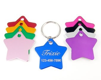 Cat ID Tag Personalized Pet ID Tag Engraved Star Cat Name Tag Collar Identification Tag for Pets - Nine Color Options