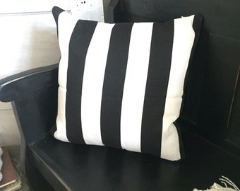 Black and White Striped Pillow Cover with Insert