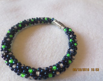 0045-Navy Blue, Neon Green, & Gray Seed Bead Bracelet