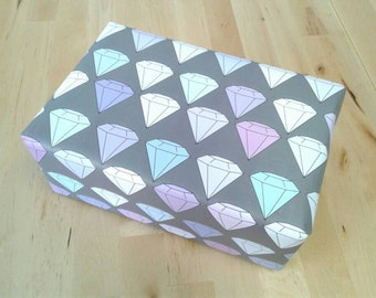 Diamond Bling Wrapping Paper Sheets, Pastel Rainbow Diamonds on Charcoal Gray, 29x20 inches each, shipped rolled in tube