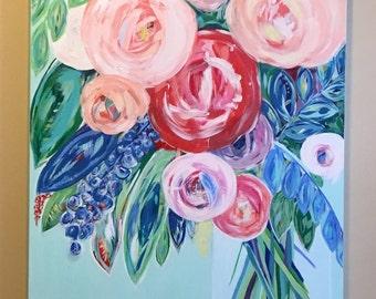 30x40 Orginal Acrylic Floral Painting