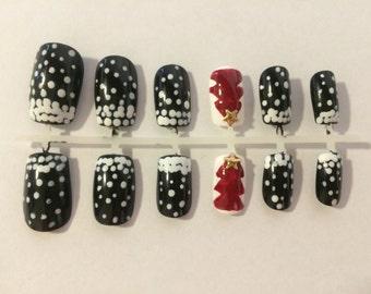 A set of handpainted false nails: christmas nails with snow design/xmas nails/snow nails/black nails/xmas tree nails/festival nails/red nail