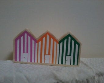 Row of 3 Wooden beach huts