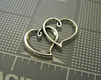 Entwined Silver Hearts Charm Pendant -  Lovers Hearts Pendant Charm