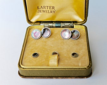 Vintage Larter Cufflinks Black Mother of Pearl Rolled Gold Plated shirt set. Double Sided Cufflinks abalone Three Piece Shirt Set.