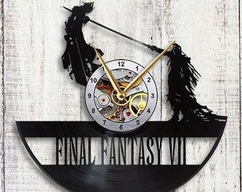 Final Fantasy 7 Cloud vs Sephiroth Vinyl LP Record Wall Clock Gift Idea