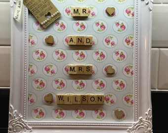 Scrabble letter wedding gift