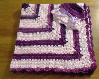 NEW Handmade Crochet Baby Blanket and Hat/Beanie Set - Colors Purple & Pink Striped - A Wonderful Baby Shower Gift!! - SEE NOTE!