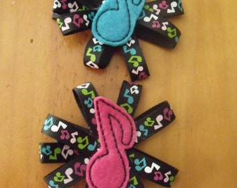 Handmade Boutique Double Prong Lined Hair Clip - Music Notes Embroidered Feltie - Piano, Band, Orchestra. Great gift for any music lover!