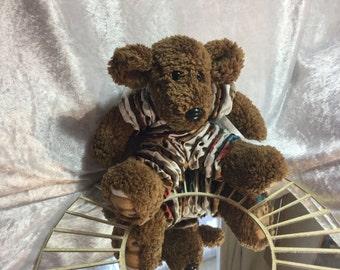 Handmade collectable stretchy artists teddy bear (bear print)