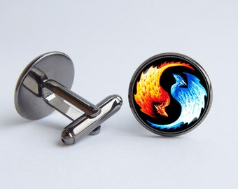 Yin Yang cufflinks Dragons cuff links Fire and Ice Yin Yang jewelry Men's gift Dragon jewelry Yin Yang accessories Zen cufflinks Symbol