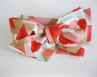 Head wrap - baby headwrap - baby turban headband - baby knot headband - girl headband - gold coral peach mint geo triangle headband
