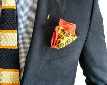 Gold Pocket Square, Paisley pattern | Silk pocket square | Gentleman accessories | dapper | blazer pocket square | handkerchief | Gift men