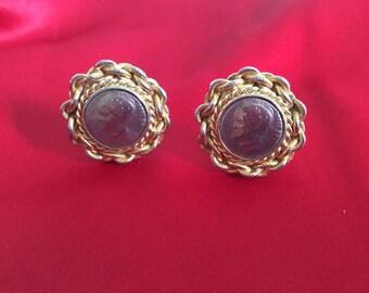 Roman coin 1980s clip earrings
