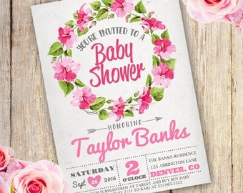 Floral Wreath Baby Shower for a Girl Invitation - Instantly Downloadable and Editable File - Personalize at home with Adobe Reader