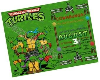 Teenage Mutant Ninja Turtles Birthday Invitation.