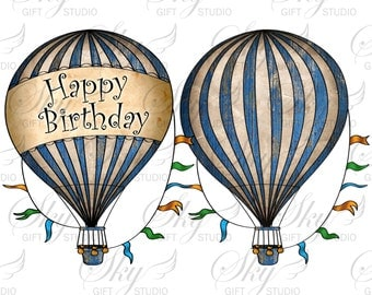 Hot air balloons PNG,  Hot air balloon A4, happy birthday, transparent hot air balloon