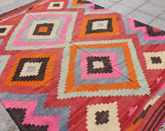 Extra bright multi colored large kilim rug - 10 x 7 ft