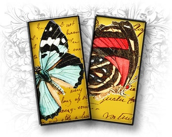 Vintage Butterflies 1 x 2 Inch Rectangular Images Digital Collage Sheet Download and Print - Printable Images - Domino 1 x 2
