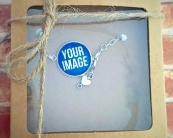 Photo Bracelet, Picture Bracelet, Photo Charm, Photo Charm Bracelet
