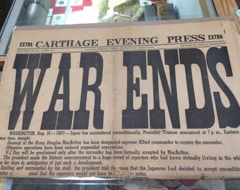 War Ends - August 14, 1945 Newspaper