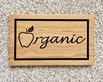 Wood Organic Sign Carved Wood Sign Business Signage Organic Farm Sign Organic Wall Decor Cherry Sign