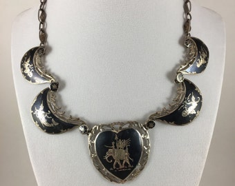 Vintage statement Siam Niello Silver Necklace, dancing goddess, based on Ramayana legend