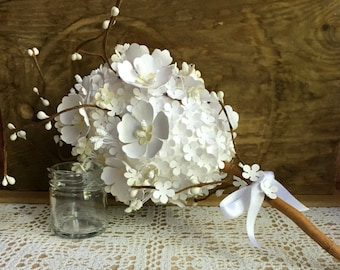 Wedding paper flower bouquet, Bridal bouquet, Rustic bouquet, Rustic paper flower bouquet