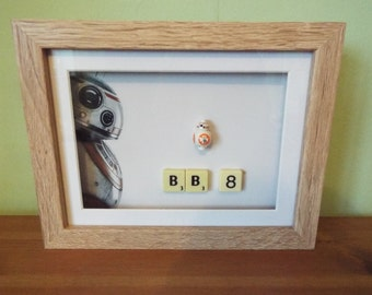 Star Wars BB-8 Custom Lego mini figure in a frame with scrabble pieces