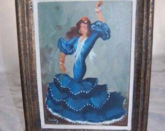 Tulio Spanish Female Flamenco Dancer Acrylic Painting