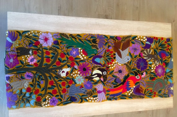 Mexican Hand Embroidered Table Runner/Wall hanging from