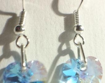 925 Sterling Silver Drop Earrings Swarovski Elements Crystal Heart AB