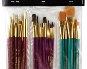 Royal Langnickel Brushes 30 pc Acrylic Watercolor Oils Paint Brush Art Supplies Standard Handle Painting Golden Taklon Bristle Camel Hair