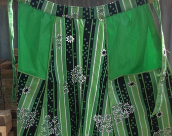 Green floral pattern apron
