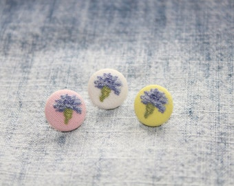 "Embroidered buttons. Buttons with embroidery ""Cornflowers"". Decorative fabric covered button"