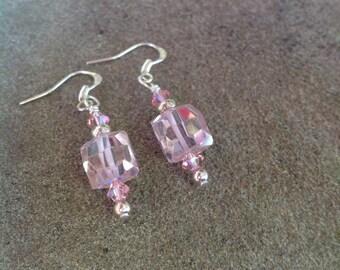 Pink Facetted Square CZ Earrings, Cubic Zirconia, Pink Earrings, Wedding Earrings