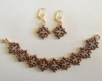 Gold and Brown Seed Bead Bracelet and Earring Set