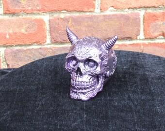 Hand Painted Purple Demon Skull