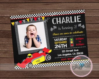 Race Car Party Invitation with Photo, Race Car Birthday Invitation, Red Race Car Birthday Party Invitation, Car Invitation, Digital File.