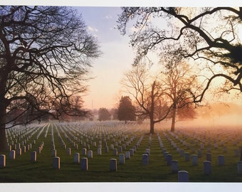 "Arlington National Cemetery at Dawn - In Memoriam - 14""x10"" Photography Giclée"
