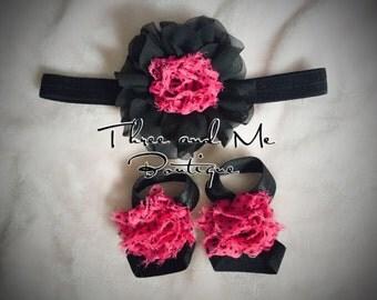 Magenta and Black Polka Dotted Baby Ribbon Sandals+Headband Set; Baby Accessories