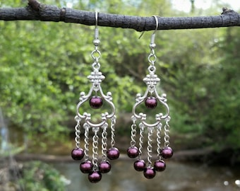 Silver Earrings with Burgundy Glass Pearls