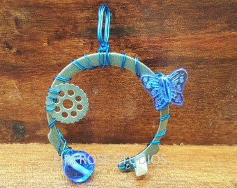 Small Blue SteamPunk Pendant