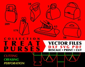Treat Purses // Collection of 7 Digital Vector Cutting Packaging Template Files in DXF SVG PDF Formats // Instant Download
