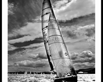 Sailing. Artistic Photography in black and white for your home decor. Nature Sea.