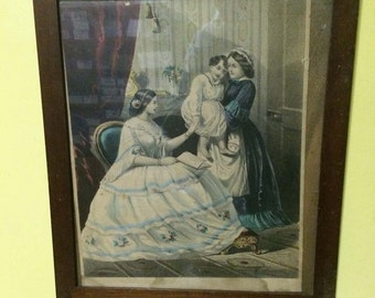 goody or currier style print- Good night dear, sweet Mother and Daughter, with old frame