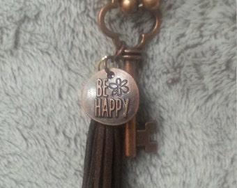 Aromatherapy Be Happy Key Fringe Necklace