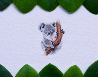 Original miniature watercolor painting of a Koala.