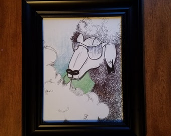 "8.5""x11"" semi-gloss laminated print on cardstock of The Black Sheep hand drawn original artwork"